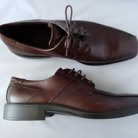 Ecco Men's Dark Brown Leather Square Toe Shoes Boutique